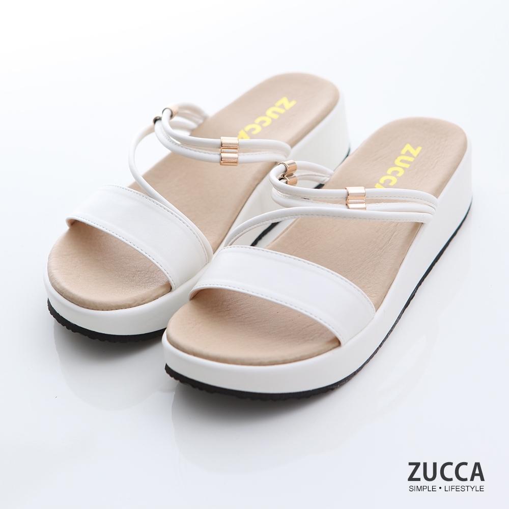 ZUCCA-素色繞繩邊厚底拖鞋-白-z7005we