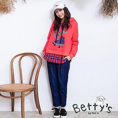 betty's貝蒂思 抽鬚鬆緊牛仔褲(深藍)