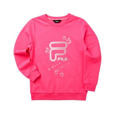 FILA KIDS 女童長袖T恤-桃紅 5TET-8908-PC