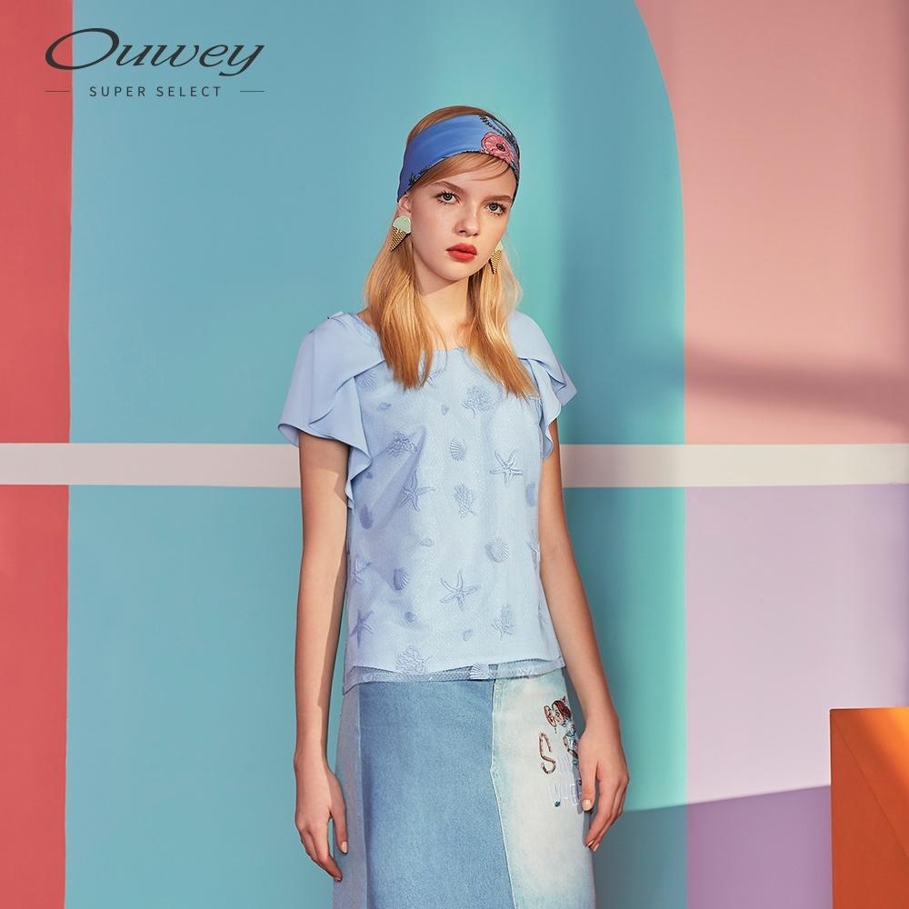 OUWEY歐薇 海洋風刺繡上衣(粉/藍)