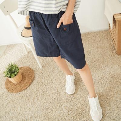 慢 生活 鬆緊腰大口袋短褲- 深藍