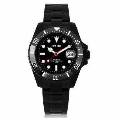 HYUN炫 男士設計精品錶-黑鋼黑底