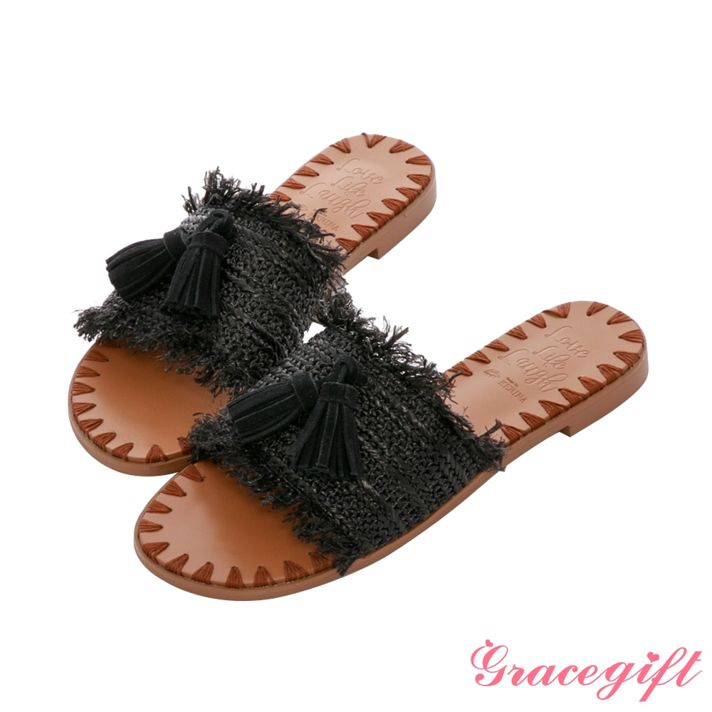 Grace gift X Kerina-聯名流蘇編織縫線平底涼拖鞋 黑