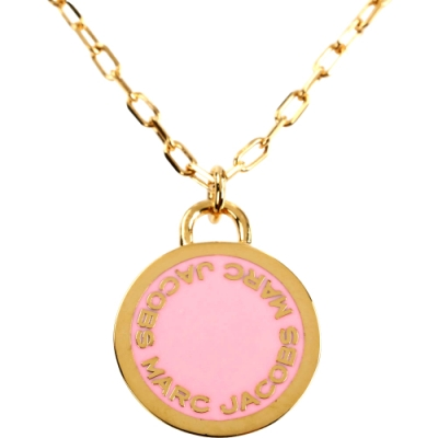 MARC JACOBS MJ Logo Disc Pendant 字母琺瑯圓盤長鍊(粉色)