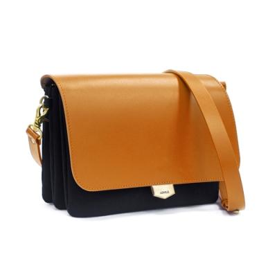 【IBAOBAO愛包包】ADOLE-ADay真皮袋蓋三層帆布包/黑+棕
