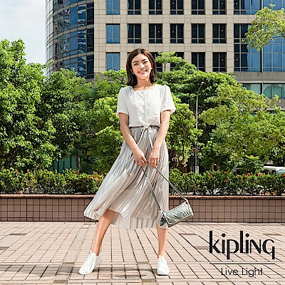 Kipling 個性金屬銀灰色翻蓋肩背側背包-VECKA STRAP