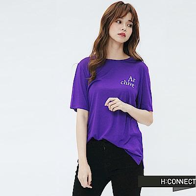 H:CONNECT 韓國品牌 女裝-標語風格圓領T-shirt-紫