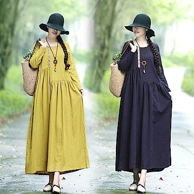 棉麻寬鬆拼接感抓褶連身長裙M-XL(共二色)-Keer