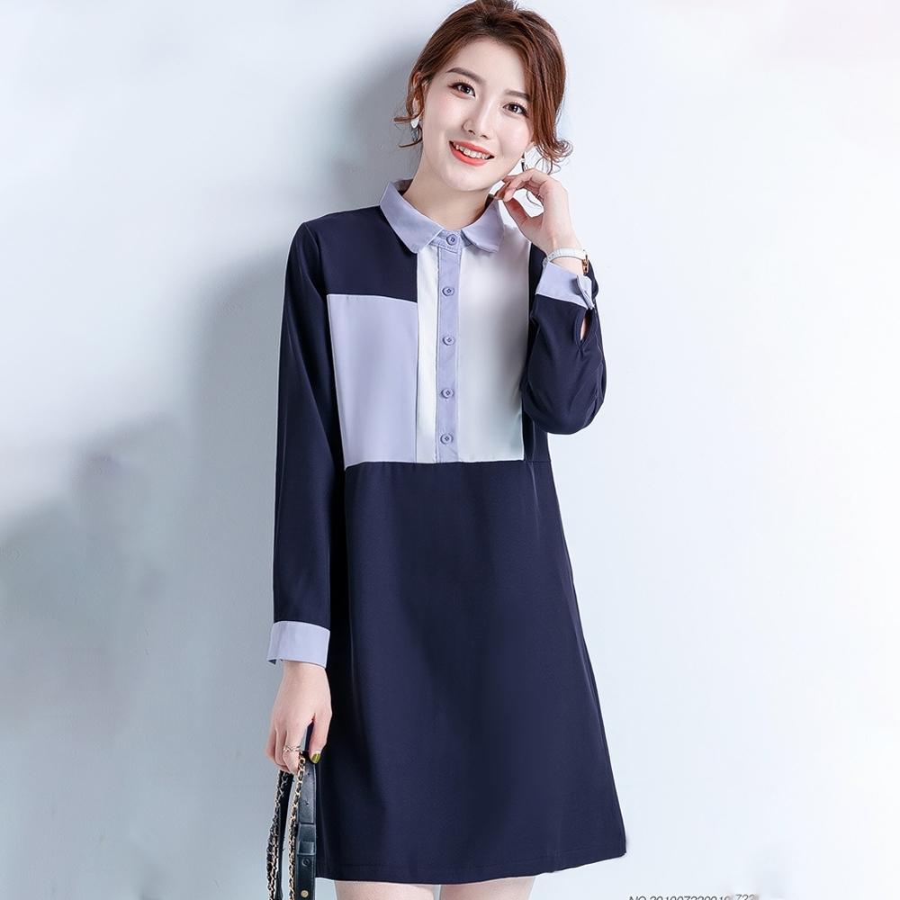初色  不規則拼接洋裝-藏藍色-(M-3XL可選)