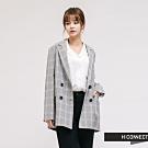H:CONNECT 韓國品牌 女裝-氣質格紋翻領西裝外套-黑