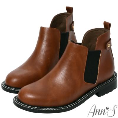Ann'S時尚街拍-前低顯瘦鬆緊切爾西平底短靴-棕