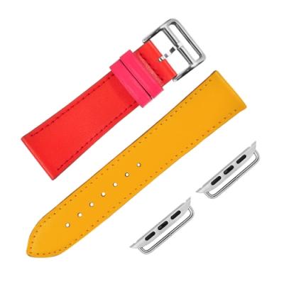 Apple Watch 蘋果手錶替用錶帶 蘋果錶帶 雙色 真皮錶帶 紅x黃