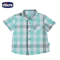 chicco-小熊家族-格紋短袖襯衫