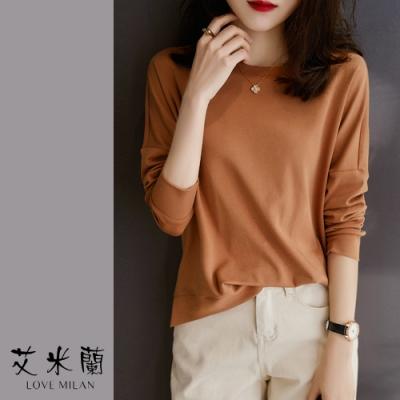 艾米蘭-韓版圓領素色百搭上衣-2色(M-2XL)