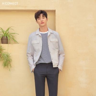 H:CONNECT 韓國品牌 男裝-印花框條紋T-shirt-藍