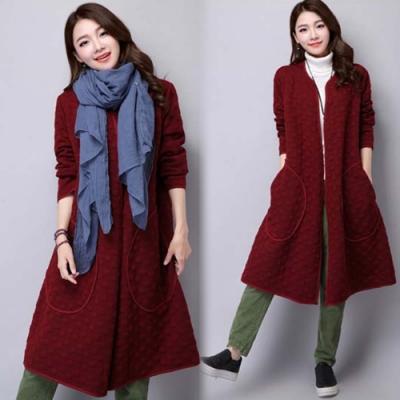 【韓國K.W.】氣質美人開衫寬鬆素面鋪棉外套(三色可選)