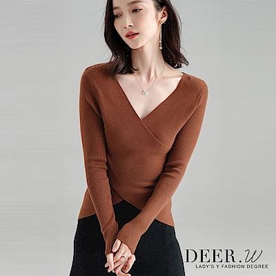 DEER.W 交叉V領坑條混織上衣(棕)