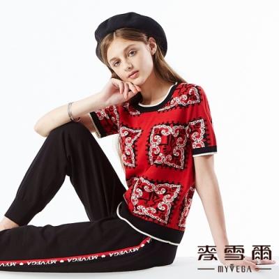 【麥雪爾】羊毛混紡古典花朵提花針織上衣