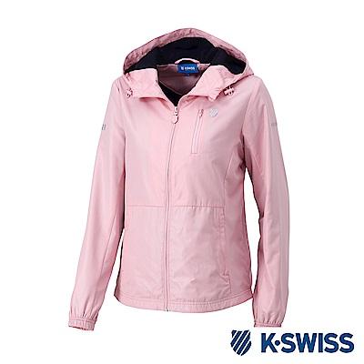 K-SWISS Solid Windbreaker F1刷毛風衣外套-女-粉紅