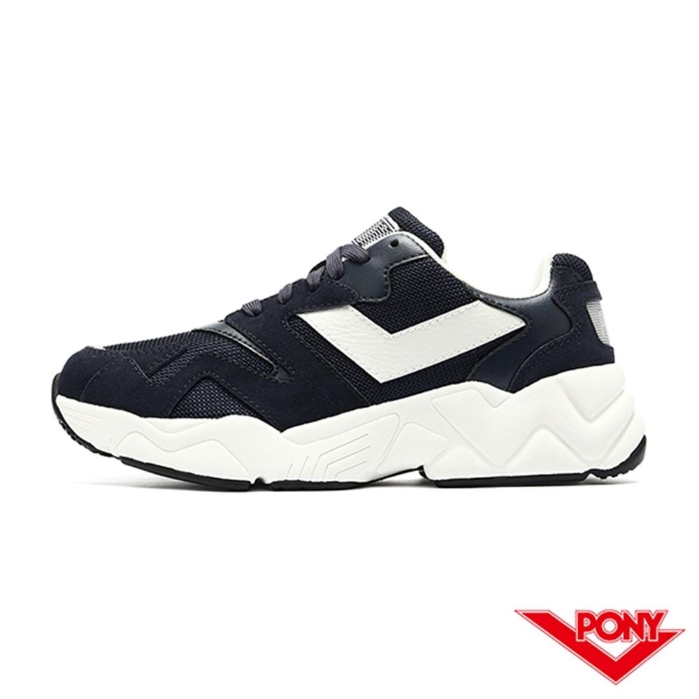 【PONY】MODERN 2系列 復古單色 老爹鞋 電光鞋 女鞋-深藍