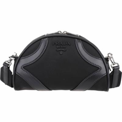 PRADA Bowling 小牛皮拼接尼龍斜背保齡球包(黑色)