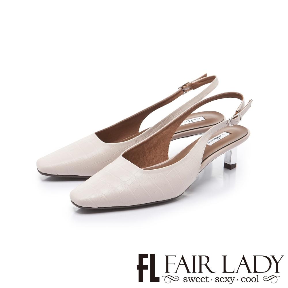 FAIR LADY 優雅小姐方頭壓紋後拉帶貓跟涼鞋 象牙白