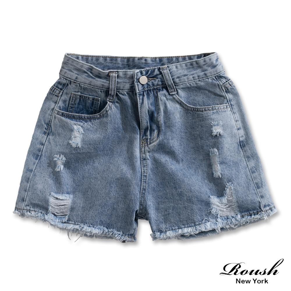 Roush 女生美式甜美破壞水洗牛仔短褲(2色)