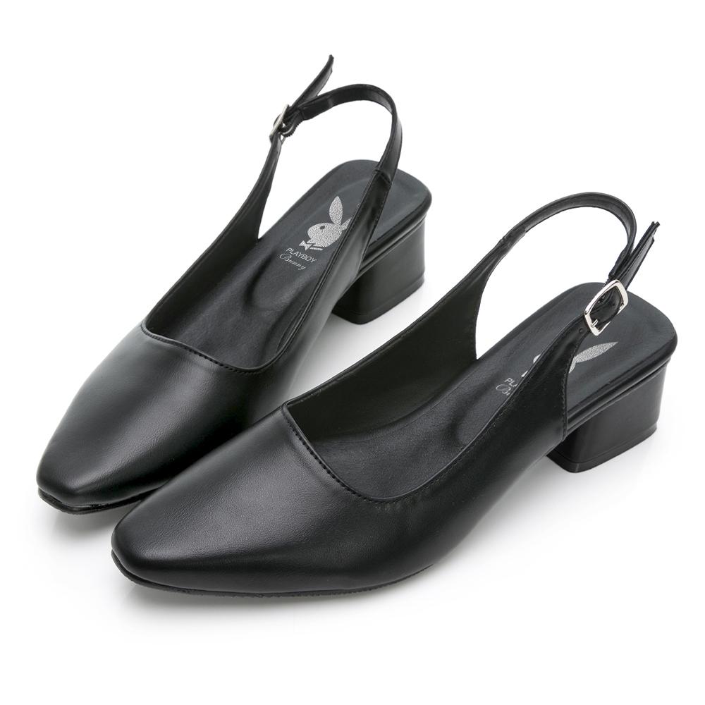 PLAYBOY 玩美小時光 知性美學瑪莉珍鞋-黑-YD7319CC
