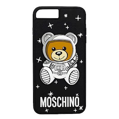 MOSCHINO 新款可愛外星太空熊 I Phone 8 Plus軟膠手機殼(黑色)