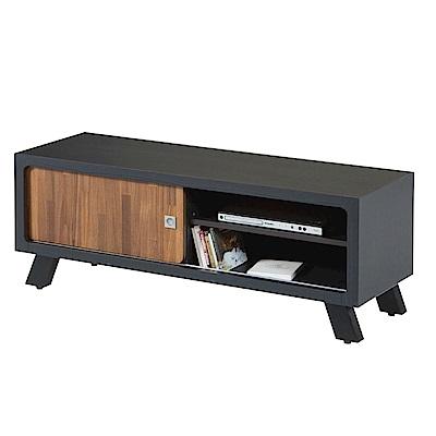 文創集 伊比時尚4尺木紋雙色電視櫃/視聽櫃-120x40x48cm免組