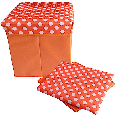 復古點點折疊收納凳(橘色)