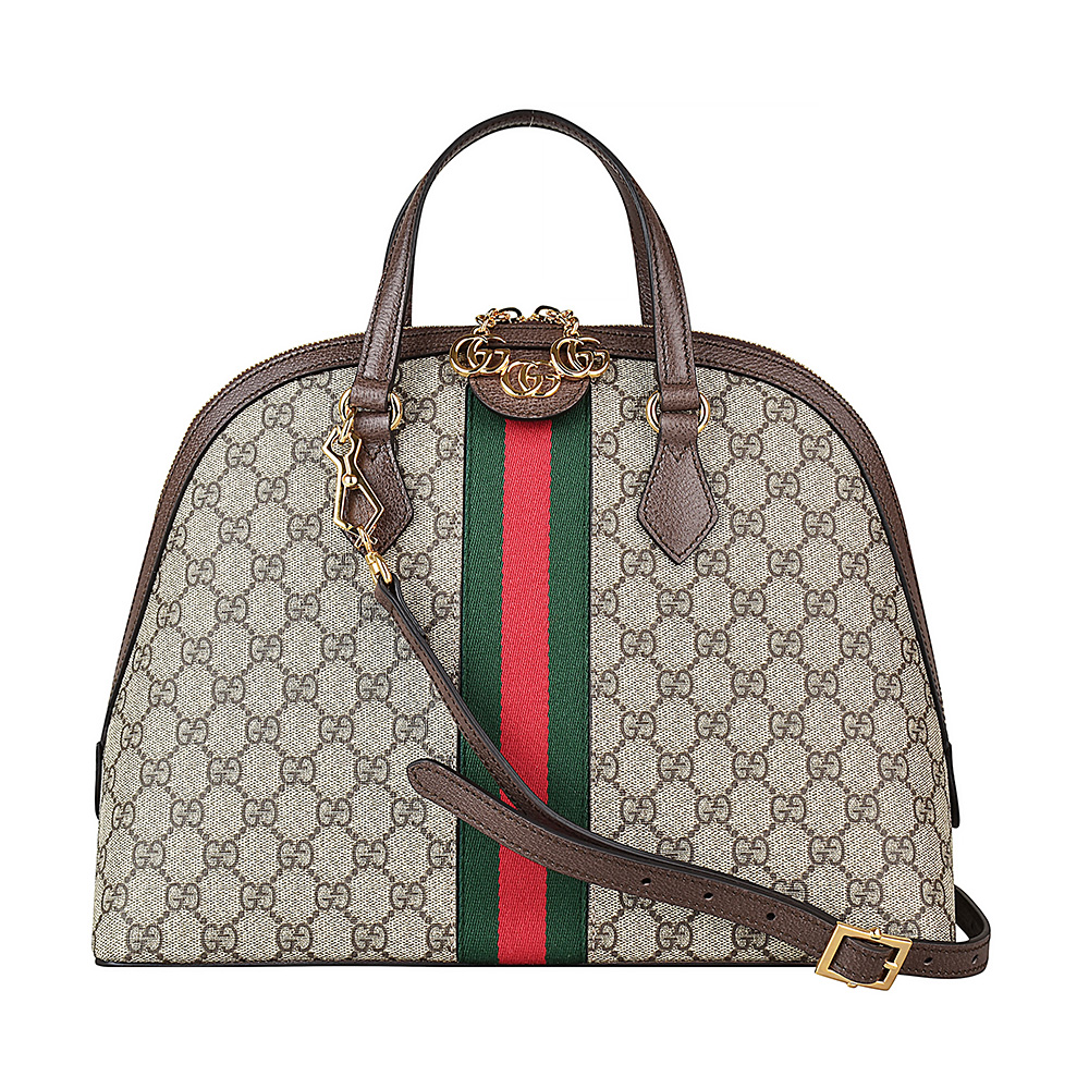 GUCCI OPHIDIA經典雙G LOGO PVC綠紅綠織帶拉鍊手提斜背包(咖啡) @ Y!購物
