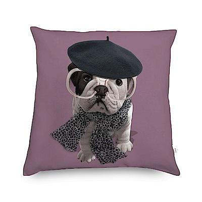 法國數位藝廊 狗狗抱枕/靠墊-貝雷帽(紫)-含芯40x40