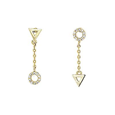 LOVERS TEMPO加拿大品牌 圓圈三角造型鑲嵌鋯石 金色垂墜耳環