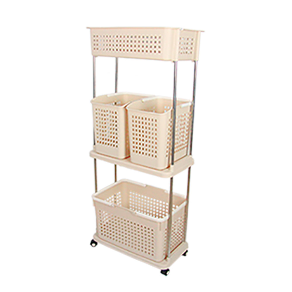 【Incare】滾輪升級版多層分類洗衣收納籃(3層-米色)