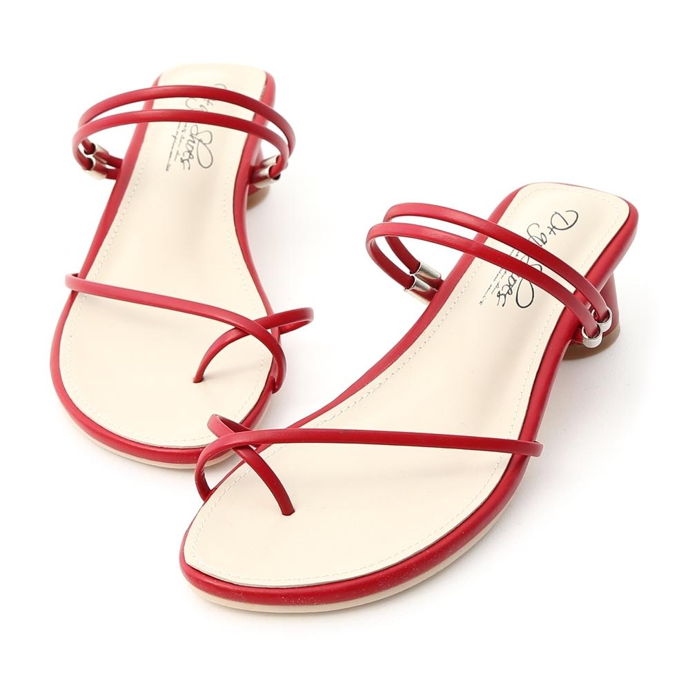 D+AF 清新夏氛.交叉套指2way圓跟涼鞋*紅
