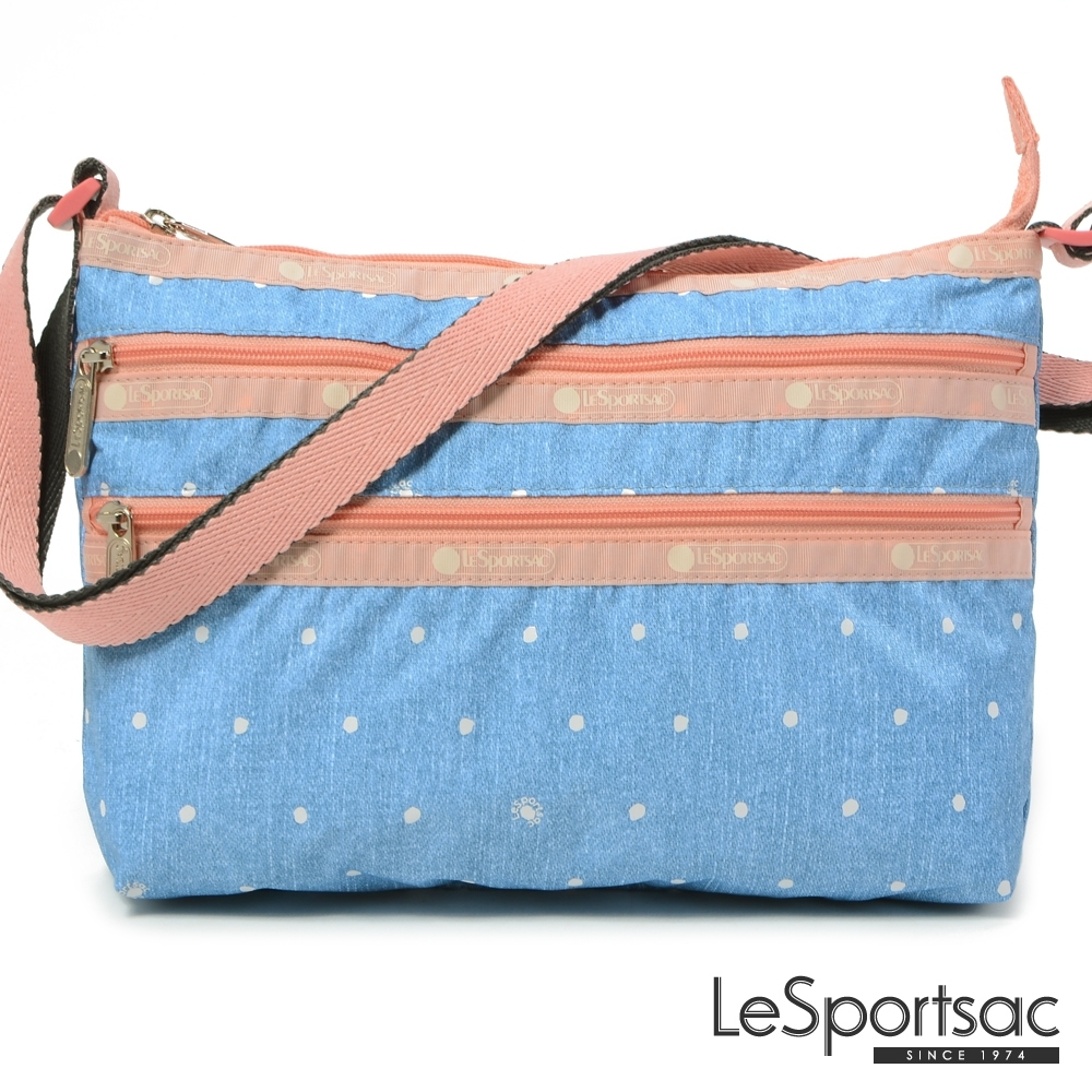 LeSportsac - Standard 橫式三層拉鍊斜背包(牛仔點點)