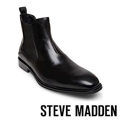 STEVE MADDEN-MALICE復古方頭潮流真皮紳士雀爾喜靴-黑色