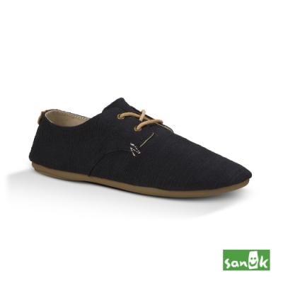 SANUK 女款 US7 竹節紡織花邊休閒鞋(黑色)