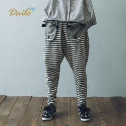 【Dailo】可愛立體動物造型條紋休閒棉褲(一色)