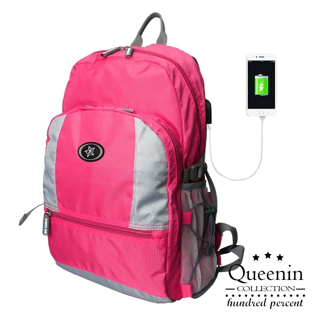 DF Queenin日韓 - 輕甜淑女款防潑水多彩色系USB後背包-共8色