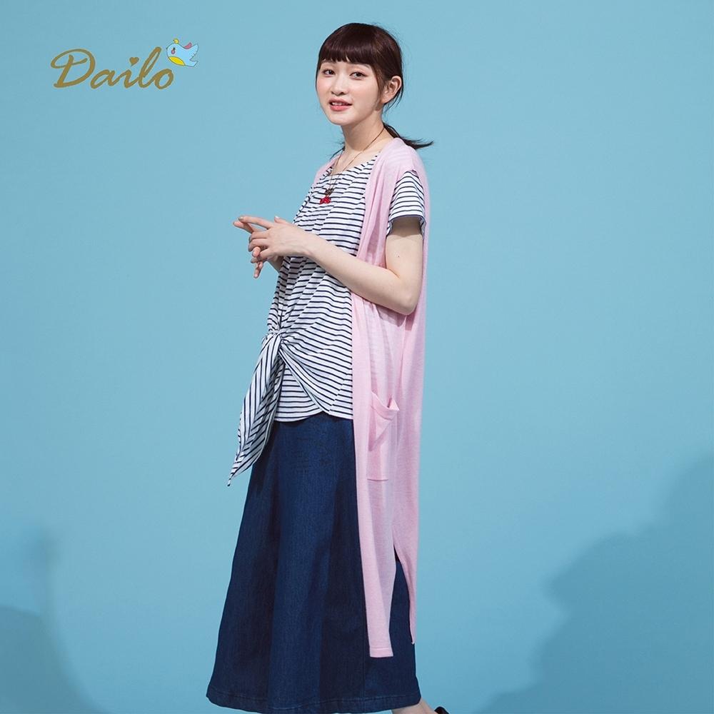【Dailo】慵懶舒適長版罩衫-針織衫(二色)