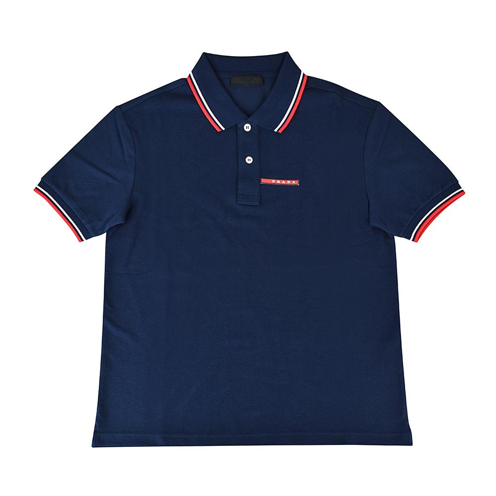 PRADA經典橡膠LOGO紅白設計純棉短袖POLO衫(M/L/墨藍)
