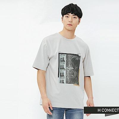 H:CONNECT 韓國品牌 男裝-相片感印花圓領T-shirt-卡其