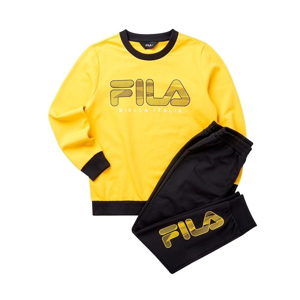 FILA KIDS 童長袖針織套裝-黃色 1WTT-8905-YE