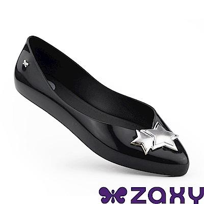 Zaxy 巴西 女 迷人星彩 平底尖頭鞋-黑