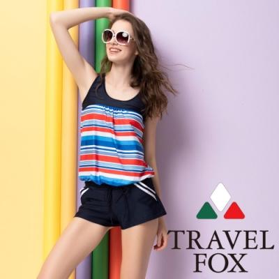 TRAVEL FOX夏之戀  連身褲條紋二件式泳衣(加大尺碼)