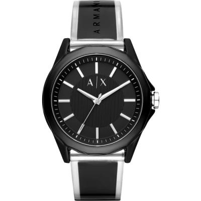 A│X Armani Exchange 廣告款 透視錶帶手錶-黑/44mm