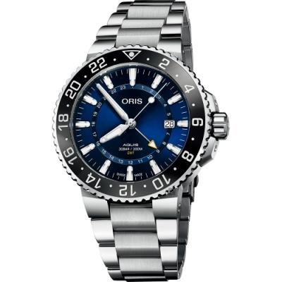 Oris 豪利時 Aquis GMT 雙時區潛水300米機械錶-藍x銀鋼帶/43.5mm