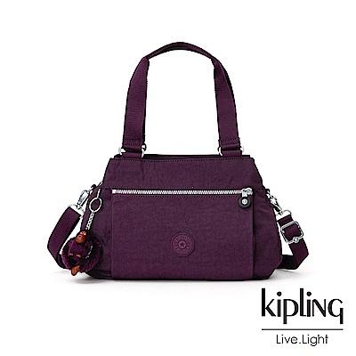 Kipling 深紫素面梯形手提側背包-ORELIE